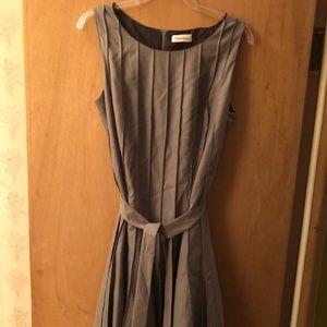 Gray Size 12 Calvin Klein Pleated Sleeveless Dress